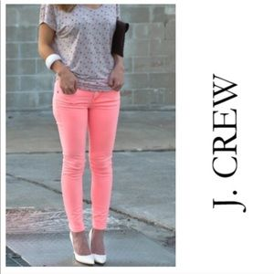 J Crew Toothpink Ankle Jeans in Bright Coral